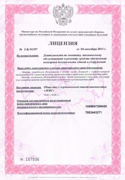 лицензия компании ЗЕВС